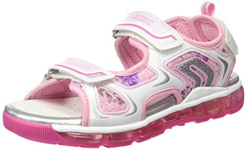 Geox J SANDAL ANDROID GIR, Sandales Bout ouvert fille - Blanc - Blanc/rose (C0406), 27