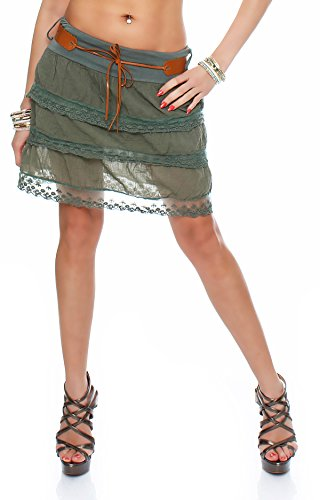 ZARMEXX Damen Volant-Rock mit Gürtel Sommerrock Minirock Spitze gerüscht One Size Armee