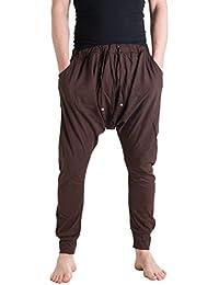 Vishes – Alternative Bekleidung – Leichte Herren Haremshose aus Baumwolle mit mittlerem Schritt und Tunnelzug