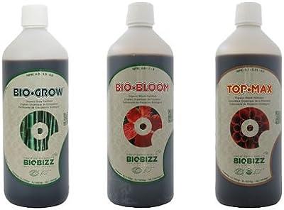 BioBizz - Set de fertilizantes Bio Grow, Bio Bloom y Top Max (500 ml cada uno)