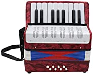 Mini Acordeón, pädago gisches Instrumento Musical para ambos Niños Adultos 17Key Professional, rojo