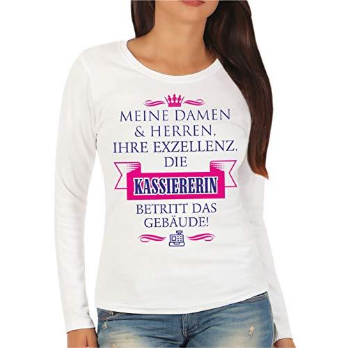 Spaß kostet Frauen und Damen Langarmshirt Ihre Exzellenz DIE KASSIERERIN Größe XS - XXL