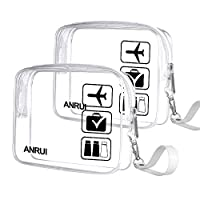 2pcs/Pack ANRUI Toiletry Bag with Strap, TSA Approved Carry On Airport Airline Compliant Bag Quart Sized 3-1-1 Kit Travel Luggage Pouch (Transparent)