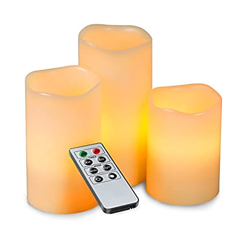 Hemara Set of 3 LED Unscented Flameless Candles Battery Powered Romantic Votive Candles With Remote Control - Suitable for Weddings, Christmas, Funerals, Souvenirs - Makes a Great Gift - Stunning