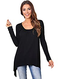 KRISP® Damen Lockeres Jersey Stoff Shirt Langer Zipfel Saum