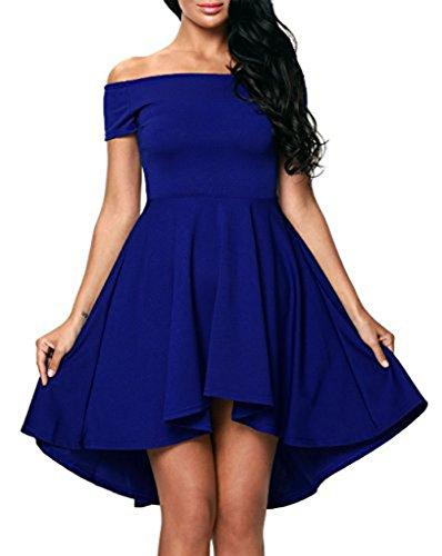 Kidslove Sommerkleid damen elegant Strandkleid Minikleid Urlaub Kleid Cocktaikleid Partykleid Abendkleid Blau