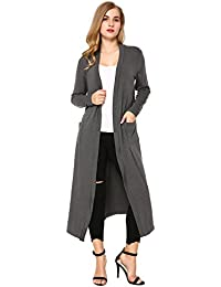 aed2068b624b9 Mixfeer Womens Light Weight Long Sleeve Open Front Long Maxi Cardigan  Longline Duster Coat Pockets