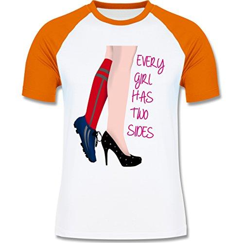 Fußball - Every girl has two sides - Fußball - zweifarbiges Baseballshirt für Männer Weiß/Orange