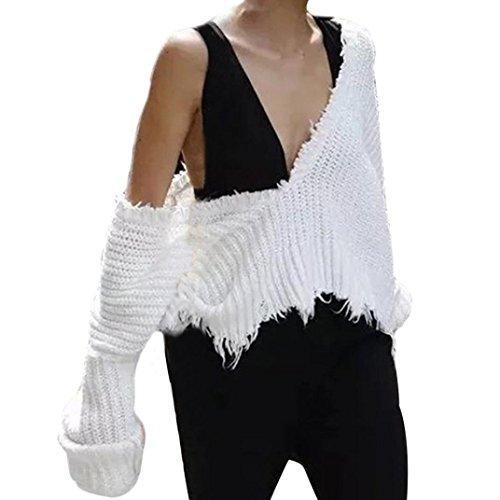 FORH Freie Größe Frauen Herbst Winter Mode V-Ausschnitt Einfarbig beiläufig lang Ärmel Stricken Pullover Tops Bluse Farbe:(Beige/Weiß /Schwarz) (Freie Größe, Weiß)