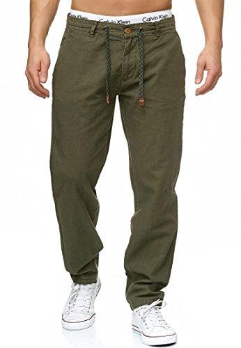 Indicode Herren Veneto Leinen-Hose lange Hose bequeme Stoffhose aus hochwertiger Leinenmischung Army XL (Klassische Leinenhose)