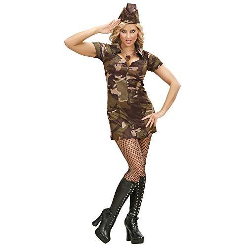 Widmann 70471 - Erwachsenenkostüm Soldatin, Kleid und Hut, Tarnfarbe, Größe S