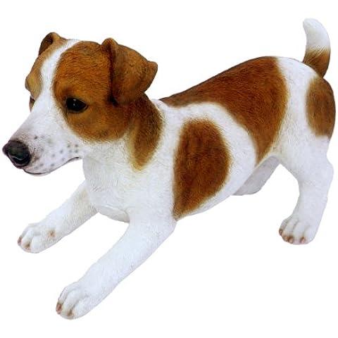 Arti Vivid Real Life - Decorative Figura Giardino (medie), disegno del cane Jack Russell - Bone Disegno