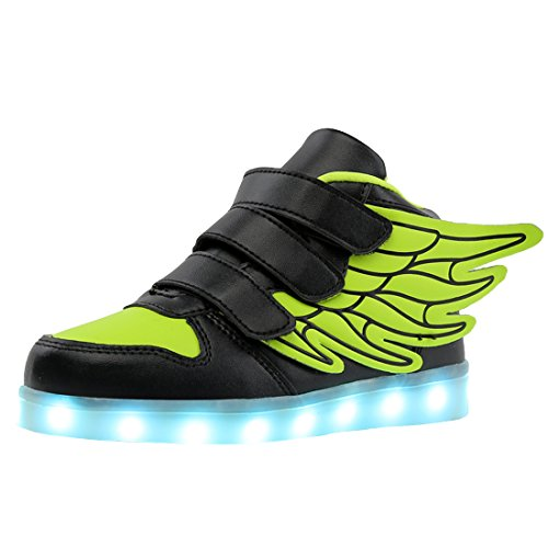 huhe Jungen USB Aufladen LED Sportschuhe High-Top Sneakers für Kinder (Schuh-schnürsenkel-lichter)