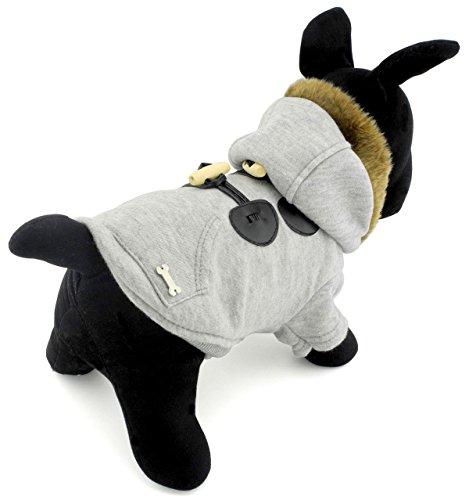 selmai Hörner klein Hund Jacke/Mantel mit Fleece Kapuzen Puppy Winter Hoodies Kleidung Outfits (Boxer Kostüm Wenig)
