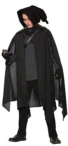 shoperama Schwarzer Wizard Warlock Hexenmeister Umhang mit Kapuze Halloween Cape Hexer Zauberer