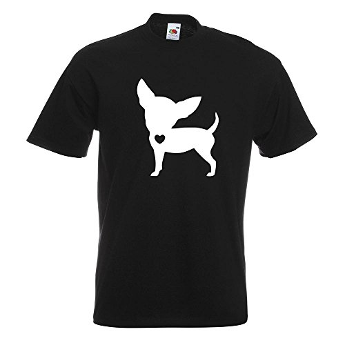 KIWISTAR - Chihuahua Love Silhouette T-Shirt in 15 verschiedenen Farben - Herren Funshirt bedruckt Design Sprüche Spruch Motive Oberteil Baumwolle Print Größe S M L XL XXL Schwarz