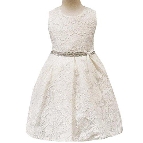 Kleid, Dasongff Baby Mädchen Spitzen Blumenmädchenkleid Kinder Festlich Hochzeits Kleid Prinzessin Brautjungfern Partykleider Festzug (80, Weiß) (Baby Rosa Kinder Brautjungfer Kleider)