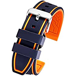 24mm Black Orange Silicone Rubber Watch Strap Sport Diver Watch Band Replacement Strap