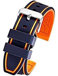 Black Orange Silicone Rubber Watch Strap 22mm Sport Diver Watch Band Replacement