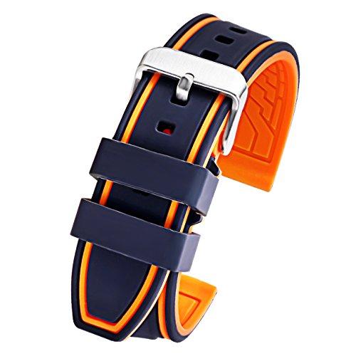 Mens 22mm schwarz orange Silikonkautschuk Ersatz Uhrenarmband Sport Taucher Uhrenarmband Ersatz wasserdicht weich (Ersatz-nautica-uhr-band)