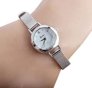 women silver small chic dial steel band quartz wrist watch. Black Bedroom Furniture Sets. Home Design Ideas