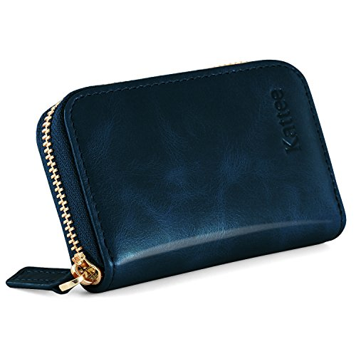 Kattee Damen echtes Leder Geldbörse Kreditkartenhalter RFID Blocking Zipper Geldbeutel Kreditkartenetui Kreditkartentaschen Blau (Geldbörse Leder Wallet Zipper)