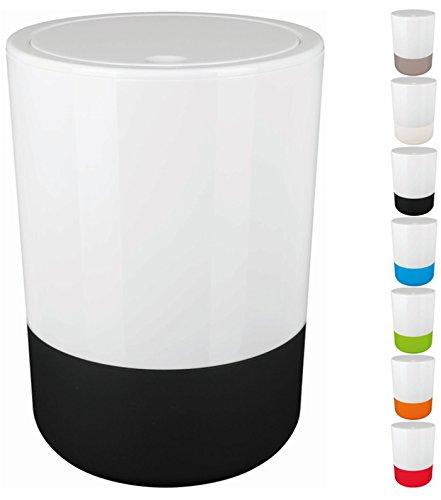 """Spirella Design Kosmetikeimer \""""Moji\"""" Bad Treteimer Schwingdeckeleimer Abfallbehälter mit Schwingdeckel 5 Liter mit Silikonboden Weiß/Schwarz"""