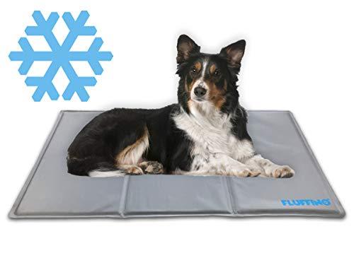 [NEU] FLUFFINO Kühlmatte - Selbstkühlend, rutschfest, abwischbar & kratzfest (90 x 50 cm; grau) - Für große u. kleine Hunde, Katzen oder andere Haustiere