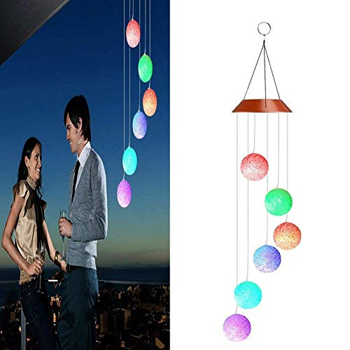 Coogel Solar-Powered Wind Chime Color-Changing Solar Powered LED Hanging Lamp Waterproof Spiral Spinner Wind Bell for Yard Garden Home Decor Valentines Gift (Particle Ball)