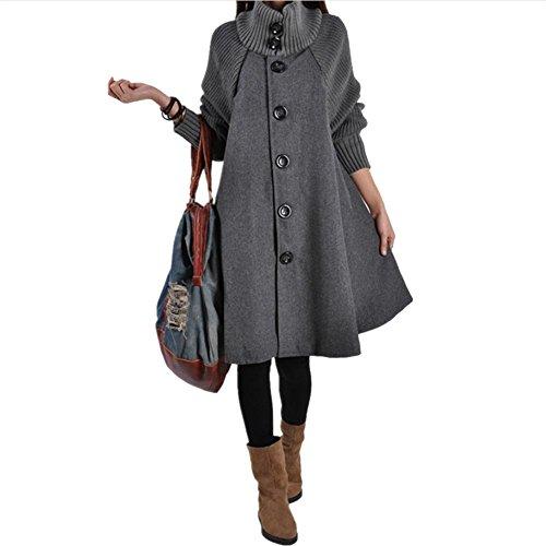 YANXH Femmes LN La Longue Section Hauts Printemps et Automne Loose Laine Manteau gray