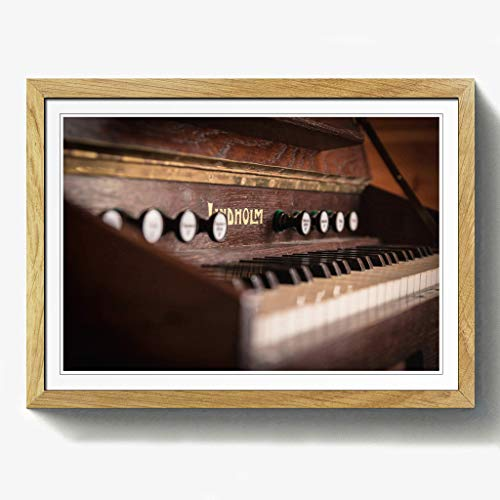 BIG Box Art Vintage Tastatur Druck mit Eichenholz Rahmen, Mehrfarbig, Größe A2, 24,5x 18_ P, Holz, Eiche, 24.5 x 18-Inch - Eiche Tastatur