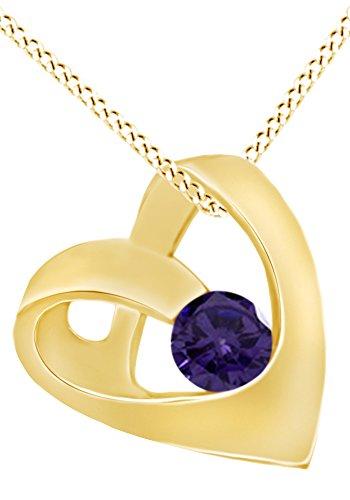 AFFY Hombre Unisex Mujer  Plata de ley (925/1000)  Plata chapada en oro amarillo de 18 K round shape   violeta alejandrita