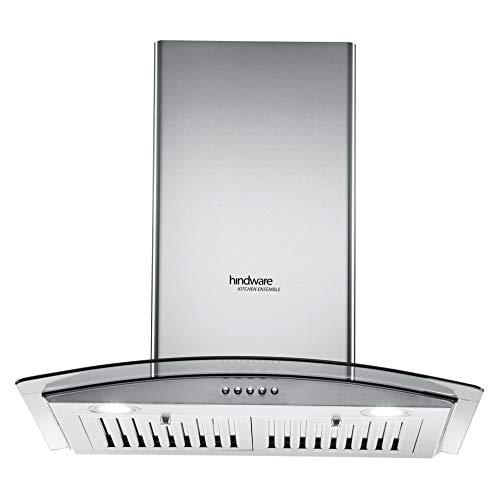Hindware 60 cm 1100 m³/HR Curved Glass Kitchen Chimney (C100179, 1 Baffle Filter, Inox)