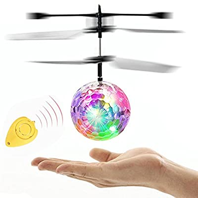 Mini Flying RC Ball, Rcool Crystal Hand Suspension Helicopter Aircraft Infrared Sensing Induction Flying Ball Drone Toy with Colorful LED Flashing Light & Remote Control