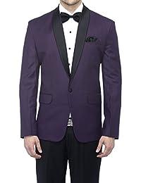 Favoroski Men's Polyester and Viscose Blazers - Dark purple
