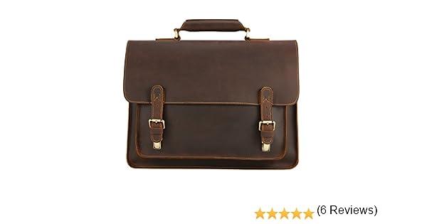 Kattee Sac Cuir Homme Serviette Business Cartable Besace pour Ordinateur Portable 15.4 /… Brun