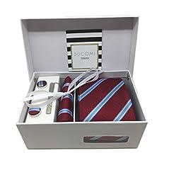 Idea Regalo - Ducomi Gentleman - Raffinato Cofanetto Coordinato Uomo Composto da Cravatta, Gemelli, Fermacravatta e Fazzoletto da Taschino - Elegante e Classico Regalo (Pride)