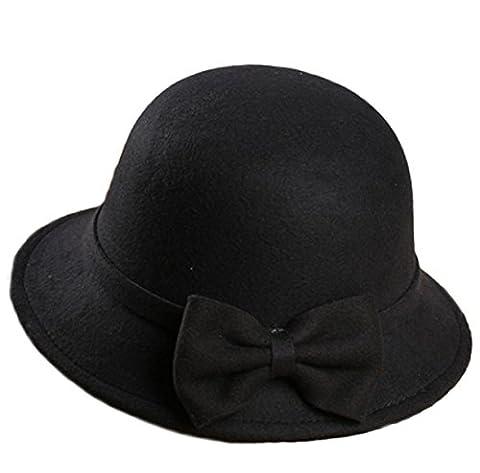 Femmes Hiver Mode Chaud Bowknot Chapeau De Laine Multicolore,Black-adults