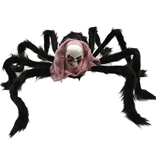 Leezo Halloween Spider Dekoration Plüsch Schädel Spinne Tricky Requisiten Spielzeug für Halloween Party Garten Terrasse Spiderweb
