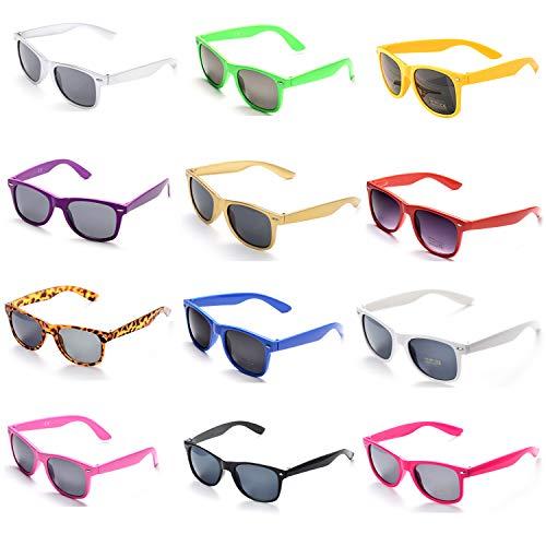OAONNEA 12 Paare Lustige Neon Party Sonnenbrillen Set fur Kinder Damen Sommer 80er Uv400 (Mehrfarbig)