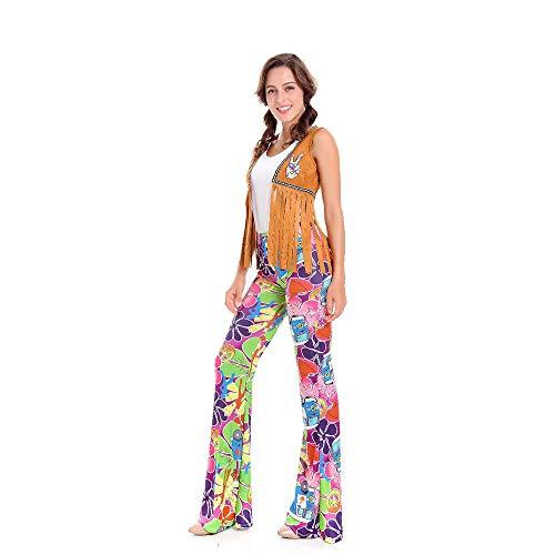 LVLUOYE Bühnenküstendämpfe, 70er-Jahre-Disco-Uniformen, Hip Hop Singer Performance Suits, Halloween Hippie Retro Kostüme,XL
