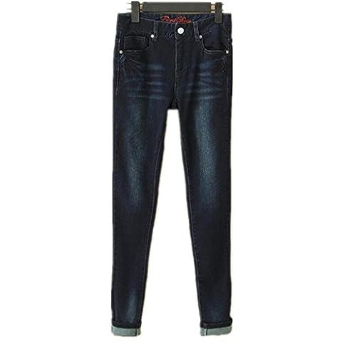 Byjia Bleu Denim Stretch Bien Roulée Base Bootcut Jeans Femmes Détruire Skinny Déchiré En Détresse Pantalon Pocket Slim Classique . Deep Blue .