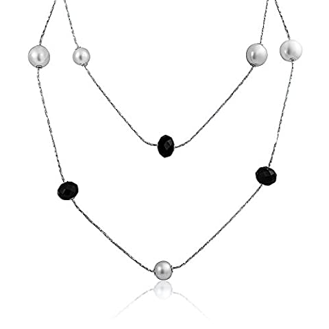 Bling Jewelry Simulated Pearl Simulated Onyx Station Necklace Rhodium Plated