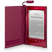 Sony PRSA-CL22 - Tapa protectora roja con luz para lector de eBook - piel sintética, policarbonato, plástico ABS