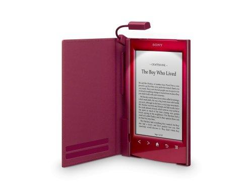 Rotes Cover mit Leuchte für den Reader (PRS-T1/T2): Die eingebaute Beleuchtung ermöglicht das Lesen bei Dunkelheit. Das dezente Leselicht ist in einem ... der individuell eingestellt werden kann