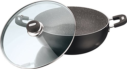 Vinod Cookware Aluminium Zest Marbilo Deep Kadai with Lid, 2-Pieces, 3.1 litres/24cm, Black  available at amazon for Rs.1062