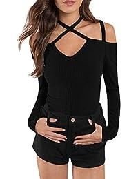 Bold Manner shirt Manche Longue Femme Fille Top Haut Blouse Tee Uni Slim Dos  Nu Croisé c3ed4d30b47