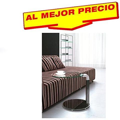 MESA AUXILIAR DE CRISTAL Y ACERO INOXIDABLE PARA SALÓN DISEÑO MODERNO