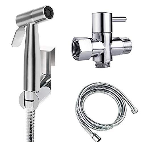 Hiseea Bidet Handbrause, Handheld Bidet Spritze,Bidet-Armaturen für WC,Waschen Windel Dusche, mit T-Ventil, 1.2 m Edelstahl-Schlauch