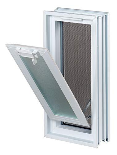 Finestra di ventilazione per l'installazione in un muro di blocchi di vetro - anziché 2 bicchiere blocco 19x19x8 cm perpendicolare
